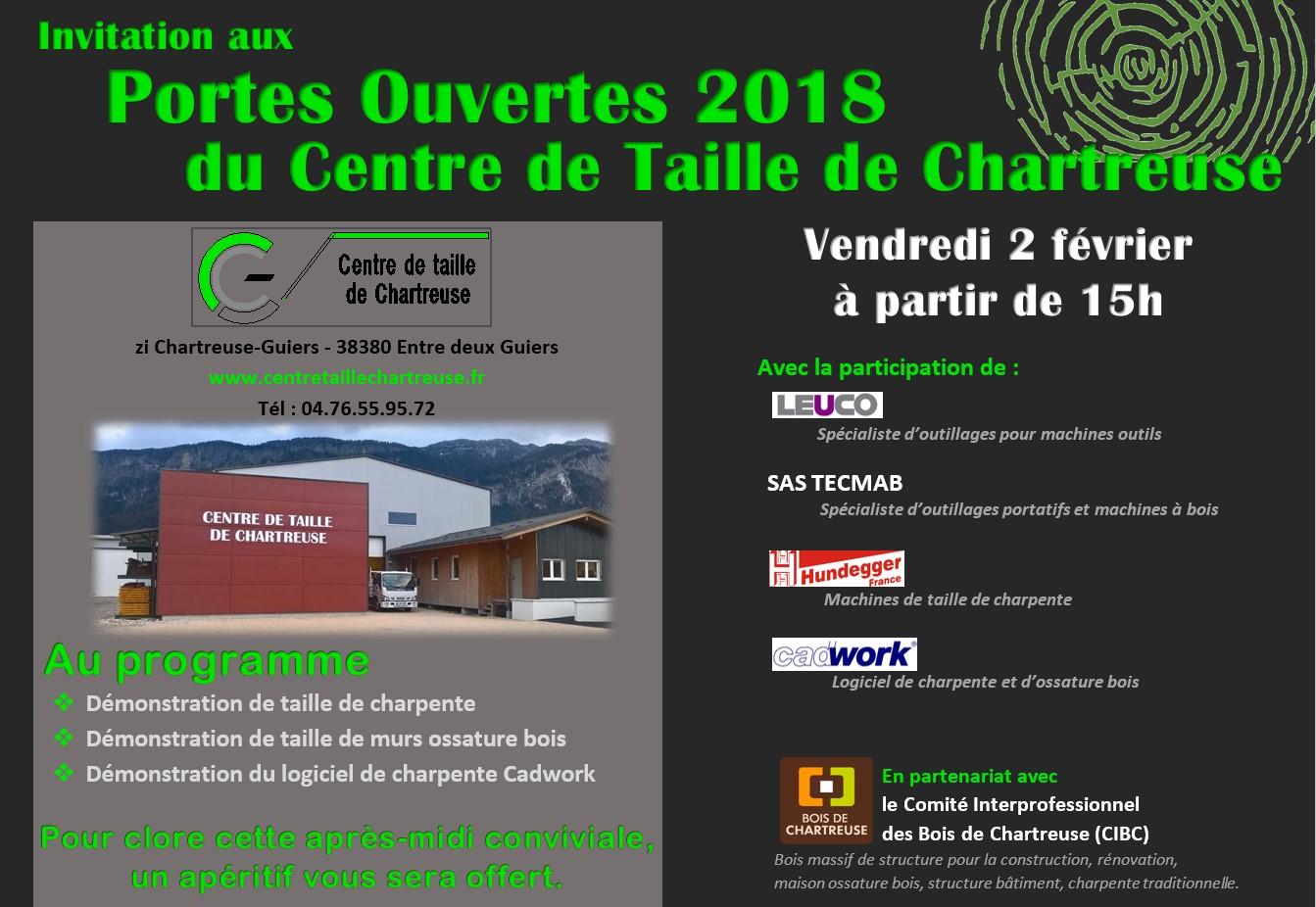 Invitation Portes ouvertes Centre de Taille de Chartreuse